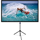 NAQIER Projektorskärm med stativstativ, 80 tum 4K HD 16:9 utomhus/inomhus 1,1 Gain 2 i 1 bärbar projektorskärm (lätt att reng