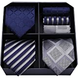 HISDERN Lot 3 PCS Classic Elegant Men's Silk Tie Set Necktie & Pocket Square - Multiple Sets