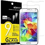 NEW'C Lot de 2, Verre Trempé Compatible avec Samsung Galaxy S5 Film Protection écran sans Bulles d'air Ultra Résistant (0,33m