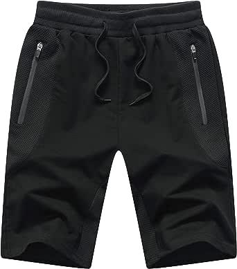 Tansozer Mens Gym Shorts Summer Running Shorts with Zip Pockets