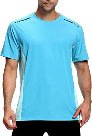 Men's Sports T-Shirt,Short Sleeve Gym top,Moisture Wicking Quick Dry Stretch Tee Breathable Clothing for Running Training Marathon Workout Athletic Base Comfortable Layers Shirts