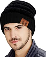 SIHOHAN Beanie Hat Trendy Knit Hats Soft Strech Cable Bun Ponytail Winter Hat for Women and Man