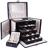 Deyooxi Boite a Bijoux, Rangement Bijoux et Présentoirs, avec 5 Tiroirs, Boîte à Bijoux Verrouillable avec Miroir, Coffret Bi