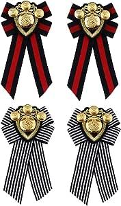 B Baosity 4 Pz Vintage Strisce Tessuto Bow Tie Metallo Distintivo Spilla Pin retrò Costume Ornamenti