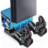 Likorlove PS4/PS4 Pro/PS4 Slim Stand, Chargeurs pour Playstation 4 Support Ventilateur de Refroidissement avec Stockage de 10