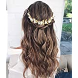Unicra Gold Hochzeit Perle Haar Reben Blume Blatt Kopfschmuck Hochzeit Haarschmuck für die Braut