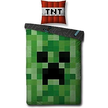 03b3138ec5 Character World Wende Bettwäsche Set Minecraft, Biber/Flanell, 135x200cm +  80x80cm, 100