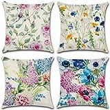 Gspirit 4 Stück Kissenbezug Pfingstrose Gänseblümchen Dekorative Kissenhülle Baumwolle Leinen Werfen Sie Kissenbezüge…