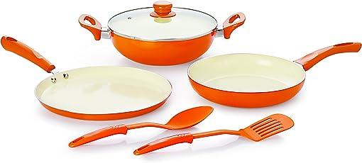 Nirlon Ceramic Aluminium Cookware Set, 5-Pieces, Orange (BT-CERAMIC-6PCSGIFTSET)