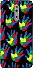 Printfidaa Nokia 8 Hands Shape with Colors Clipart Design Print Designer Back Cover for Nokia 8
