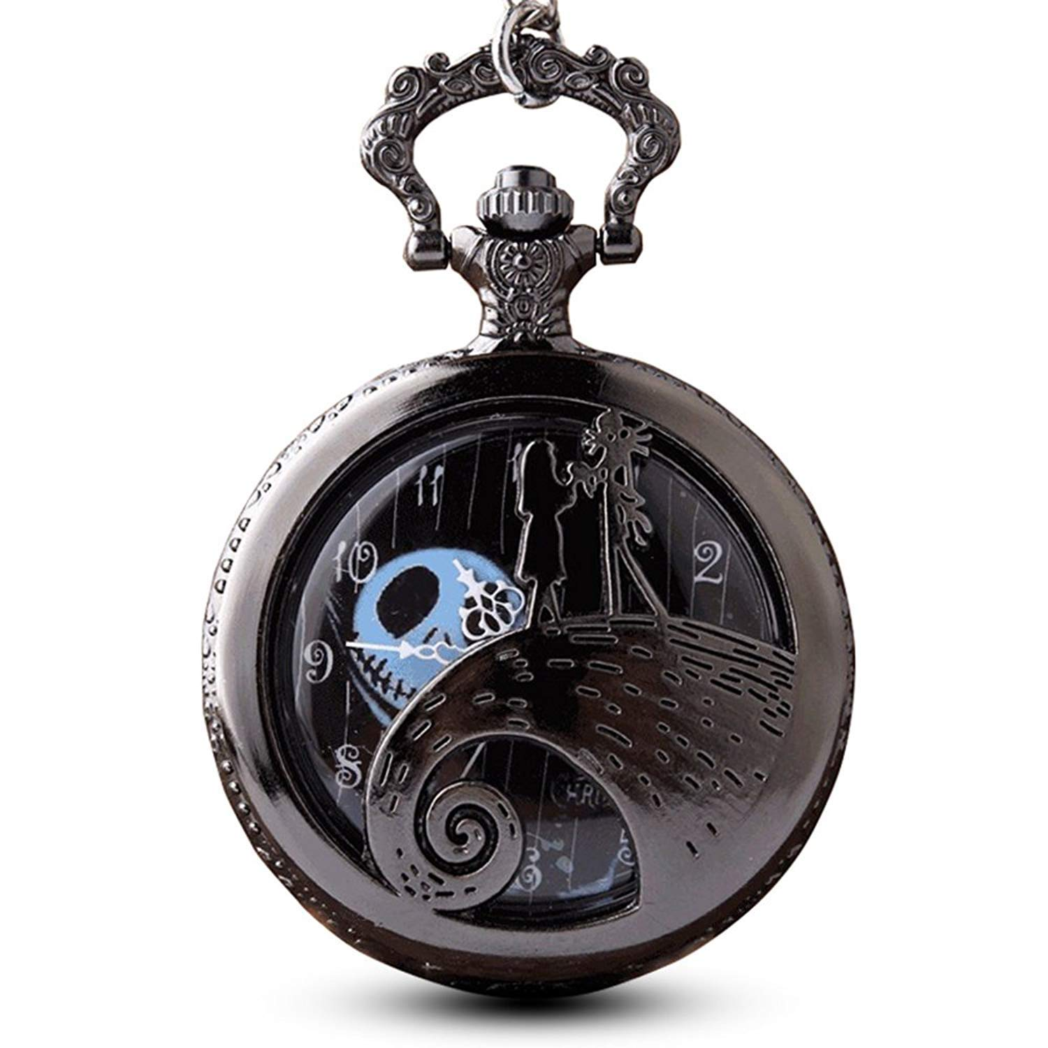 GORBEN Antique Nightmare Before Christmas Pocket Watch Hollow Quartz Steampunk Pocket Watches Necklace Chain for Fans