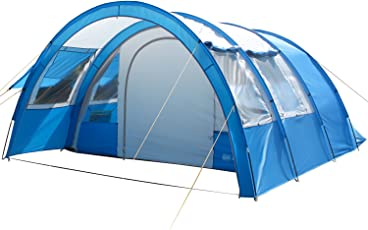 Skandika Kemi 4 Personen Tunnelzelt, Familien Gruppen Zelt mit versetzbarer Wand, Sonnendach, 2 Schlafkabinen, 3000 mm Wassersäule