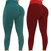 runxinqing 2 Pezzi Leggings Elasticizzati da Donna a Vita Alta Controllo della Pancia Pantaloni a Compressione…