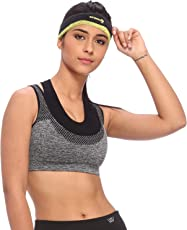VIXENWRAP Grey Imported Nylon Spandex Solid Sports Bra