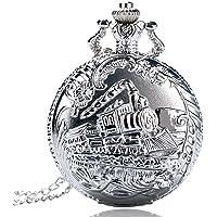 Orologio da tasca, argento treno testa viaggio ferroviario modello orologio da tasca per gli uomini, orologio da tasca…