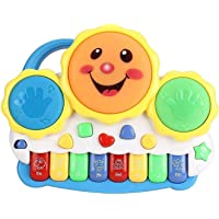 Cable World® Drum Keyboard Musical Toys with Flashing Lights - Animal Sounds and Songs, Multi Color