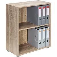 Étagère Bibliothèque chêne Meuble de Rangement »Vela« 2 Compartiments Stockage