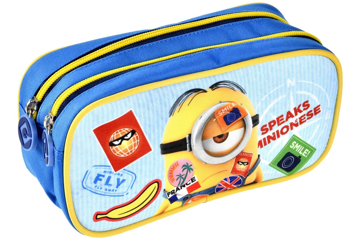 Alpa – 1 estuche portatorre 2 compartimentos azul – Los Minions – 22 x 9 x 11 cm