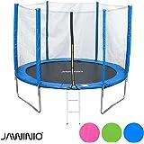 Jawinio Trampolin 244 cm (8F) Gartentrampolin Jumper Komplett-Set inkl. Leiter, Sicherheitsnetz und Sprungmatte Blau, Grün Oder Pink