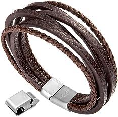 Herren Armband Edelstahl Echtleder Armband - Murtoo schwarz braun geflochten mit Magnet Verschluss(22cm)