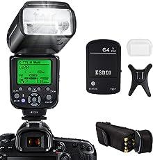 Flash Speedlite per Canon, ESDDI E-TTL Kit Flash professionale con trigger flash wireless, 1/8000 HSS Wireless Flash Speedlite GN58 2.4G Master slave wireless radio per Canon DSLR (Flash Canon)