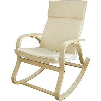 SoBuy® FST15-W Fauteuil à bascule, Fauteuil berçant, Rocking Chair, Fauteuil relax, Bouleau Flexible -Beige