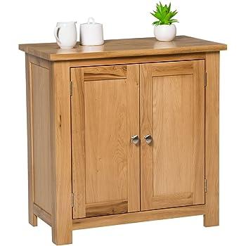 Waverly Oak Small Storage Cabinet in Light Oak Finish | Solid Wooden Filing Unit Shoe Organiser Bathroom Cupboard
