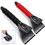 Ankier - Pack de 2 rascadores de hielo para parabrisas y ventanas de coche, color negro y rojo