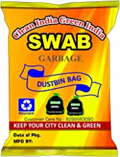 Swab Garbage Bags Size Medium 19 Inch X 21 Inch (Black) Pack Of 06(180 Bags)(Trash Bag/Dustbin Bag)