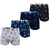 Calzoncillos bóxer de algodón para niños Ropa Interior 8-16 años Calzoncillos Conjunto de 4 Paquetes Conjunto Multicolor Dise