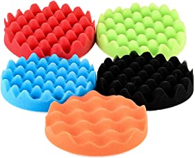 ROSENICE Buffing Sponge Polishing Pad Disc Buffing Pads Kit Polisher Scrubber for Car Polishing Waxing Sanding and Cleanning 6.9 inch - 5Pcs