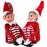 Glow, set di 2 piccoli elfi cattivi natalizi, pupazzetti a forma di elfi con corpo morbido, faccia in vinile, attaccatura in