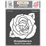 CrafTreat Rose Stencil for Art and Craft - Happiness Blooms from Within - 6X6 Inches - Reusable DIY Stencils of Rose Flower -