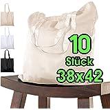 Baumwolltasche 38x42 cm unbedruckt, 10 Stück - Zwei KURZE Henkel OEKO-TEX® zertifiziert Stofftasche, Tragetasche, Baumwollbeu