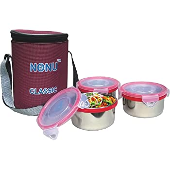 Nonu Classic tiffin with 3 leakproof stainless steel container and thermal insulated bag