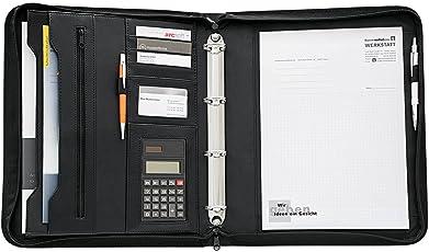 Wedo 581001 Collegemappe (aus Kunstleder, mit Rechner, Einsteckfächer, Reißverschluss, 4 Ringmechanik) schwarz