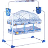Flipzon New Born Baby Swing Cradle with Mosquito Net (Blue)