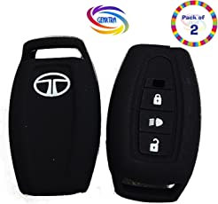 Genxtra Silicone Key Cover for Tata Safari Storme/Aria 3 Button Remote Key (Set of 2 Pcs)