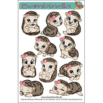 940b950231 Bambinellas Stickerparade - 10 Sticker - Motiv: Igel Mädchen - Made in  eigener Werkstatt in Germany