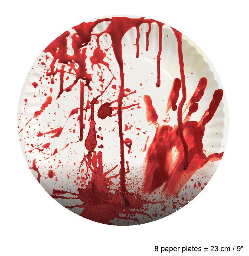 Karneval-Klamotten blutiges Tischdeko Party Set XL Halloween Horror Blut 37 Teile Teller, Becher, Servietten, Tischdecke
