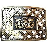 Scottish Highland Scottish Kilt Belt Buckle Latice Thistle Design