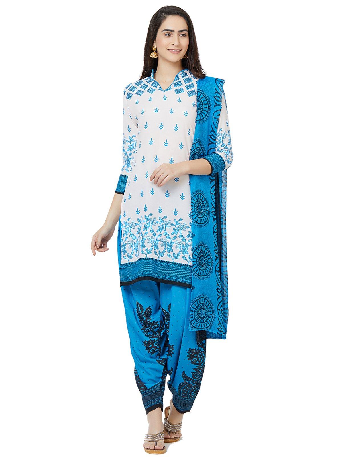 Kanchnar Women's Off white CrepePrinted DressMaterial