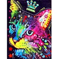 DIY 5D Diamond Painting Full Kits-Peacock Crown Cat Crystal Rhinestone Embroidery Pictures Arts Craft Gift (A)