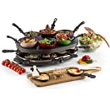 oneConcept Woklette Grill-raclette - Grill de table, Grill festif, 1200 W, température réglable en continu, 8 poelons et spat