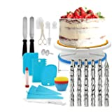 Decdeal 106Pcs Cake Decorating Supplies Kit Baking Fondant Tool Set Turntable Piping Bag Tip Pen Spatula DIY Cake Cupcake Dec