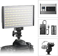 ESDDI Kamera/Videoleuchte LED Videolicht für Studio- Oder Außenbeleuchtung, 3200K bis 5600K Farbwechsel, Ultradünnes Gehäuse aus eloxiertem Aluminium