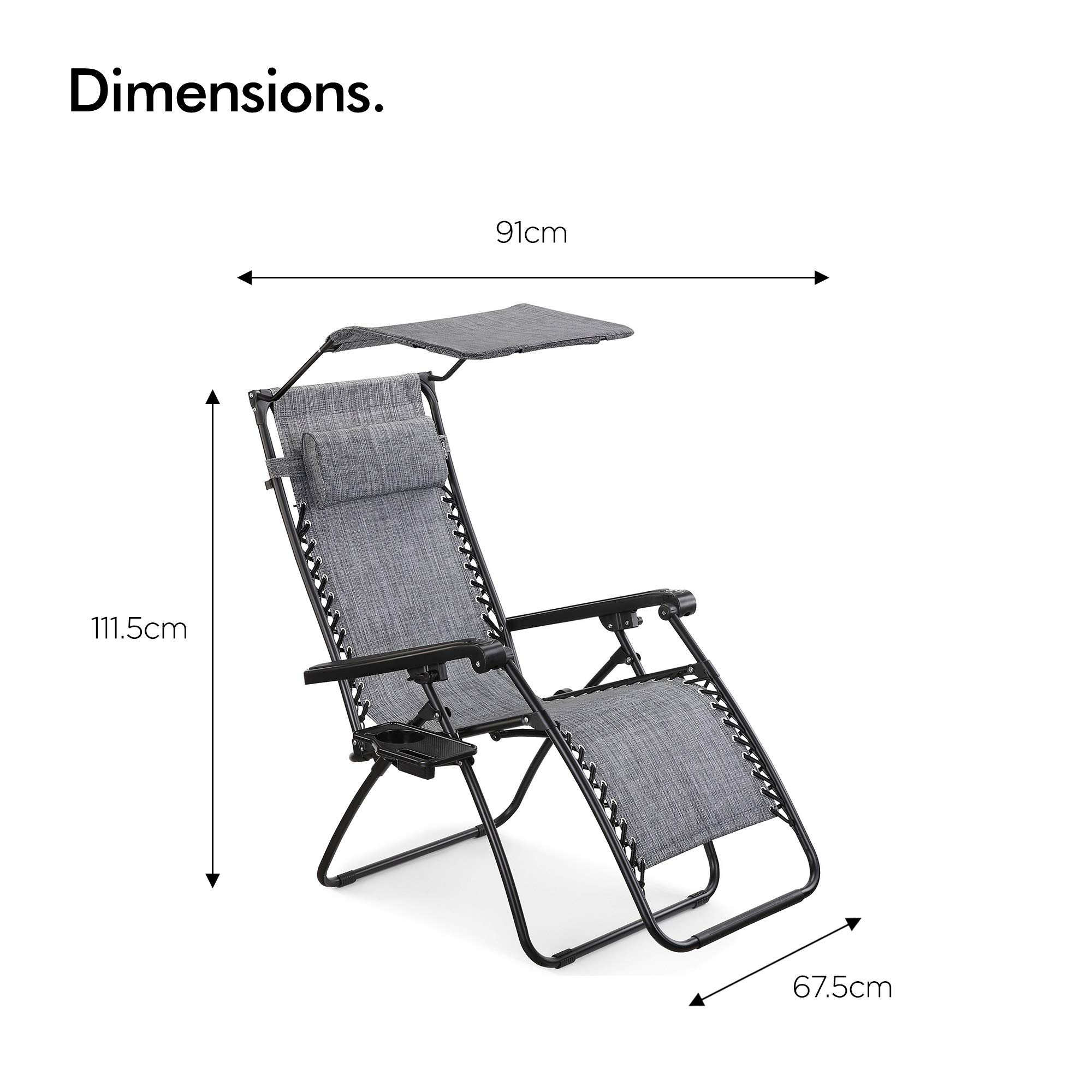 VonHaus Set of 2 Zero Gravity Chairs with Sun Canopy