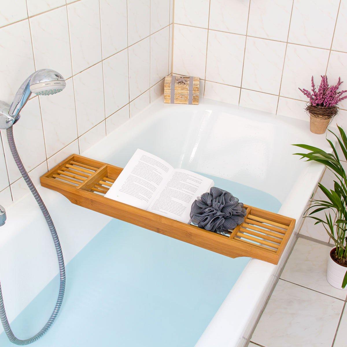 Accessori Per Vasca Da Bagno.Relaxdays Mensola Vasca Da Bagno Per Accessori Bambu Con 3 Scomparti E 70 Cm Di Larghezza Marrone