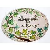 Targa da interno/esterno Ovale Dimensioni: 22 x 16 centimetri Ceramica Decorato a mano Le Ceramiche del Castello Nina Palomba