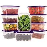 Ensemble de boîtes de Rangement Alimentaires avec couvercles Violet - À Usage Multiple - Lot de 10 récipients x 1L - Alimenta